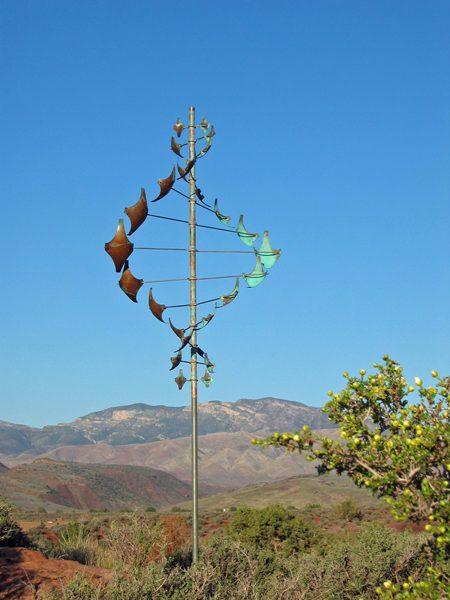 Star-Dancer-Vertical-Wind-Sculpture-by-Lyman-Whitaker-blue-sky