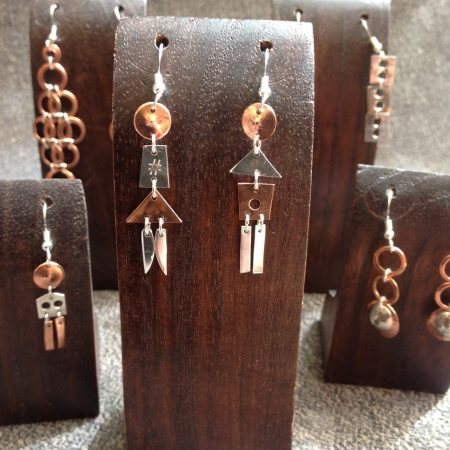 Up-cycled copper and sterling silver earrings by Pearl Meadows at Worthington Gallery